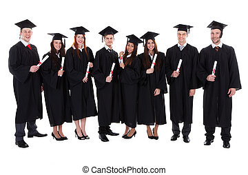 Group of student graduates with their diplomas - Group of...
