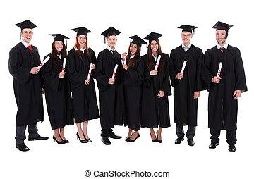 Grupo, estudante, Diplomados, seu, diplomas
