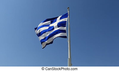 Greek Flag 3 - Greek flag waving in the wind and clear blue...