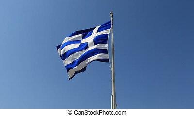 Greek Flag 3 - Greek flag waving in the wind and clear blue...