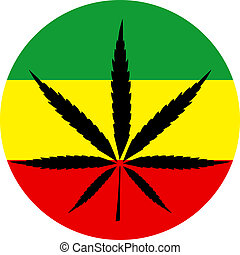 Rasta colors marijuana sign vector
