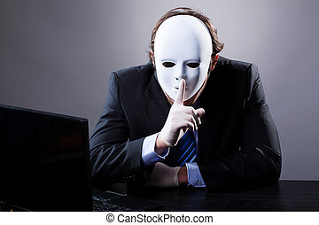 Man in white mask - Portrait of man wearing elegant suit in...
