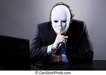 blanco, máscara, hombre