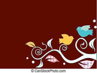 Birds on swirly trees background