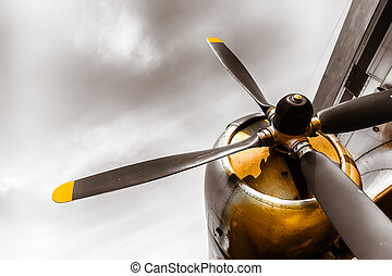 an old obsolete aircraft propeller, bottom-up, detail