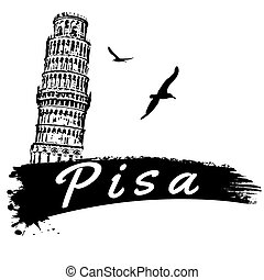Pisa poster - Pisa in vitage style poster, vector...