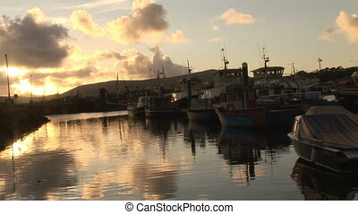 Stock Footage of Dingle in Ireland - The sun descending over...