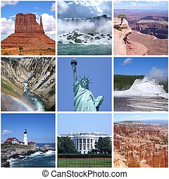 USA landmarks collage