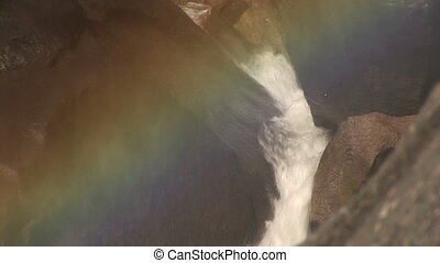 Rainbow at Vernal Falls, Yosemite National Park - Rainbow at...