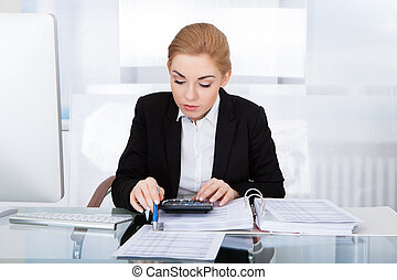 Businesswoman Calculating Bills - Portrait Of Young...