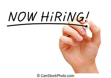 Now Hiring Black Marker - Hand writing Now Hiring with black...