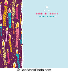 Vector colorful birthday candles square torn seamless pattern background
