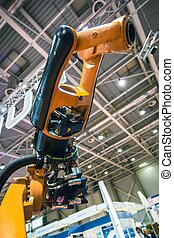 Industrial robot arm close up