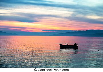 Boats at sunset - Beautiful sea landscape with boat