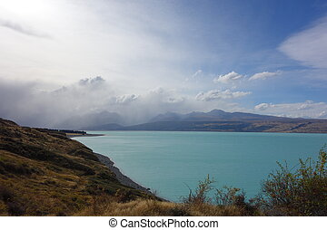 Pukaki Lake in Mackenzie Basin New Zealand