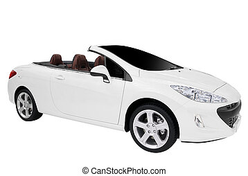 cabriolet car - white cabriolet car isolated