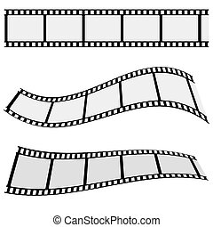 Cinema Film Strip Set - Collection of blank cinema film...