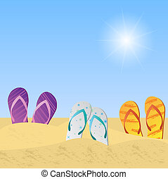 Beach Sandals - Illustration of beach sandals in the sand...