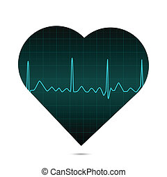 ECG Heart, Illustration - Illustration of a heart with ECG...