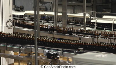 Beer factory interior with a lot of machines