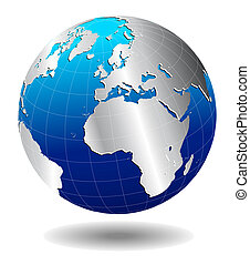 Europe Silver Global World - Vector Map Icon of the World...