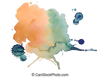 colorful retro vintage abstract watercolour / aquarelle art...