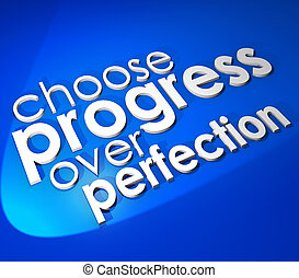 Choose Progress Over Protection 3d Word Blue Background -...