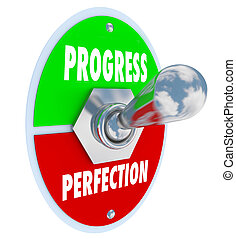 progreso, o, perfección, palanca, interruptor,...