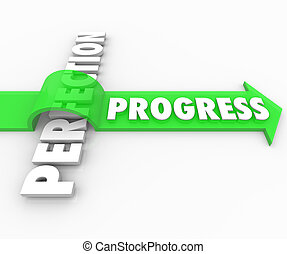Progress Arrow Jumps Over Perfection Move Forward Improve -...