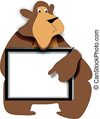 Bear Memo Board - Friendly bear holding a message sign, for...
