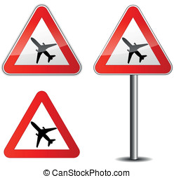 Vector airplane signpost