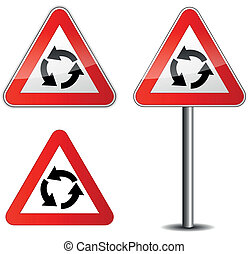 Vector roundabout sign - Vector illustration of roundabout...