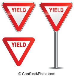 Vector yield sign - Vector illustration of yield sign on...