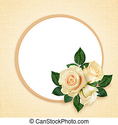 Rose flowers composition and frame on peach background