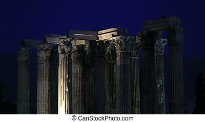 Temple of Zeus at Athens - Night Time Temple of Olympian...