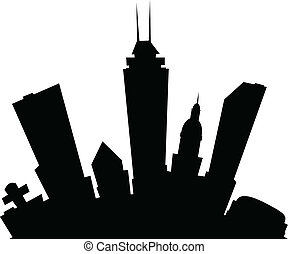 Cartoon Indianapolis - Cartoon skyline silhouette of the...
