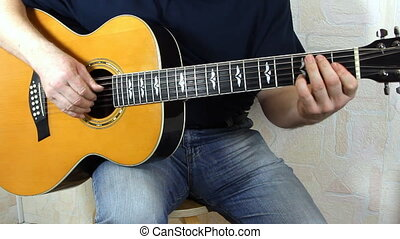 performer playing on the acoustic guitar Musical instrument...