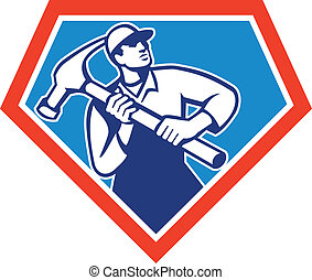 Builder Carpenter Handyman Hammer Retro - Illustration of a...