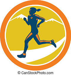 Female Triathlete Runner Running Retro