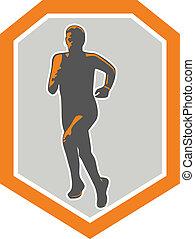 Marathon Runner Running Front Shield Retro - Illustration of...