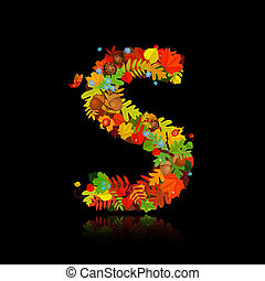 Beautiful autumn leaves. letter s