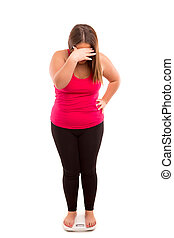 Diet concept - Fat woman very worried with her weight