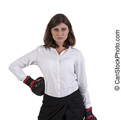 Young woman wearing boxing gloves - Portrait of a young...