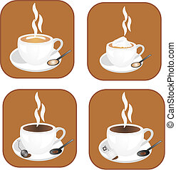 Coffee,tea icons - coffee, tea and hot chocolate icons,...