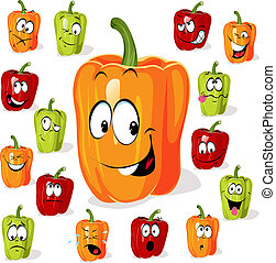 Colored paprika pepper cartoon with many expressions...