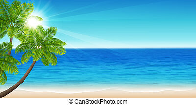 Summer sea - Vector illustration beautiful panorama of the...