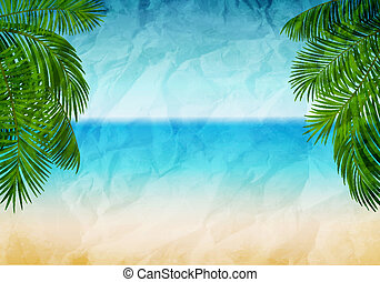 Summertime - Vector illustration of the sea coast with...