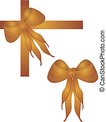 Gold bows and ties - Gold bow with lovely long ties on a...