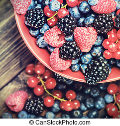 fresh blueberries, currants, blackberries, cranberries -...