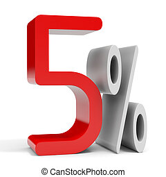 Five percent off. Discount 10%. 3D illustration.